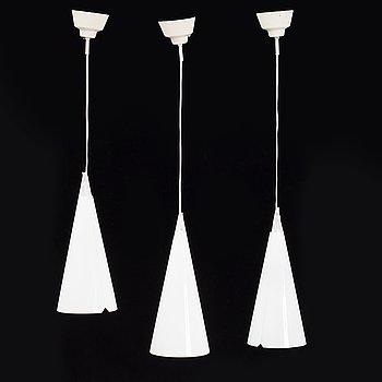 Hans Bergström, a set of three 'Struten' ceiling lamps, Ateljé Lyktan, second half of the 20th century.