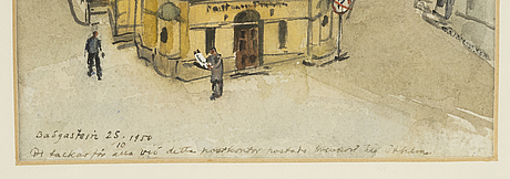 Olle hjortzberg, watercolour, signed and dated 1950.