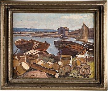 Erik Juselius, oil on canvas, signed and dated Rannöarna 1937.