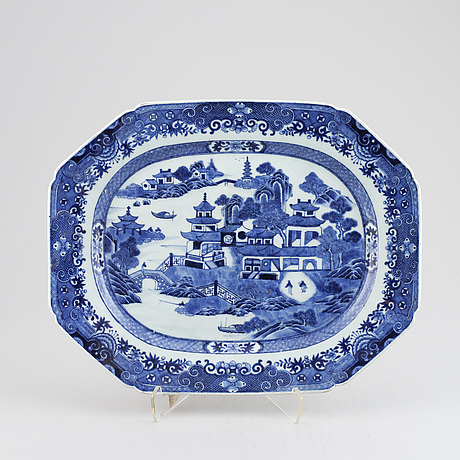 A chinese blue and white porcelain dish qing dynasty, qianlong (1736-1795).
