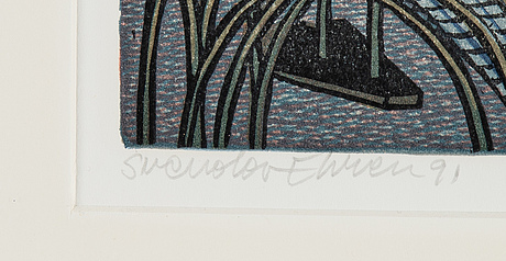 Svenolov ehrén, lithograph in colours, 1991, signed privtryck.