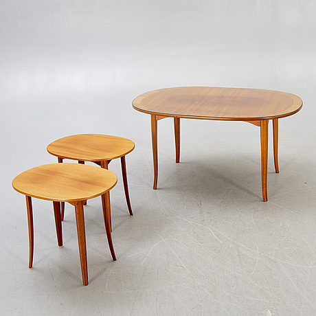 A set of three carl malmsten ovalen  coffee table and side tables from bodafors, second part of the 20th century.