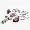 2 pendants with chains, 1 brooch, 1 ring, silver, rodochrosite, aventurine, metall, lilac drop probably glass, 4 pieces.