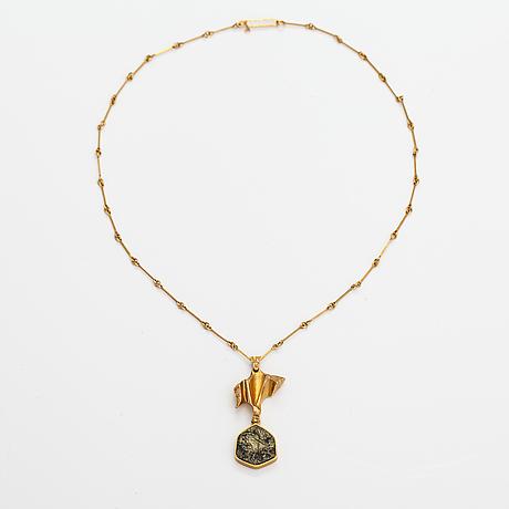 "Björn weckström, ""joiku"", a 14k gold and copper ore necklace. lapponia 1973."