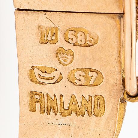 """Björn weckström, """"orchid psychedelic""""a 14k gold bracelet . lapponia 1971, a."""