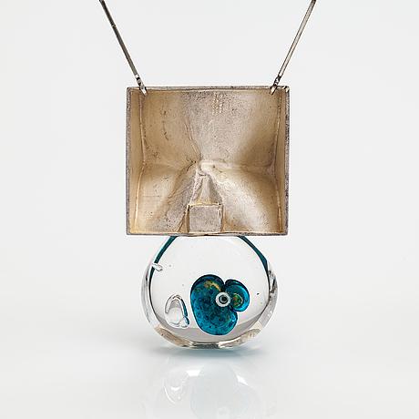 "Björn weckström, ""big drop"", a stelring silver and acrylic necklace. lapponia 1973."