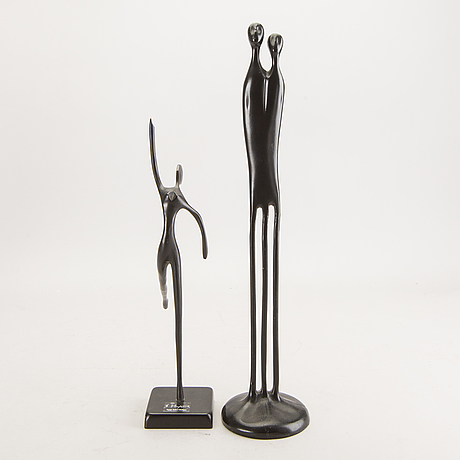 Sculptures, 2 pcs, for ikea around 2000, of which one bodrul khalique.