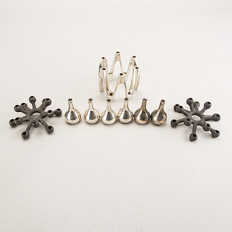 Jens quistgaard, candle holder, 9 pcs, second half of the 20th century.