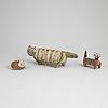 Six stoneware fgurines by lisa larson, gustavsberg.