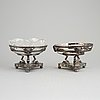 A pair of gustavian style silver and glass bowls. a.g.dufva, stockholm, 1912.