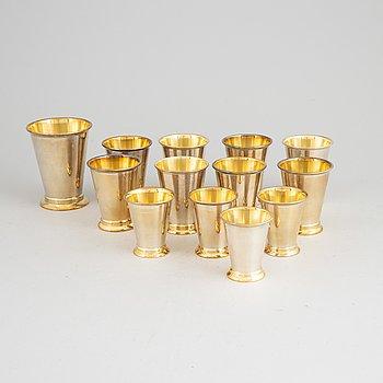 13 silver beakers, Stockholm, 1945-50.