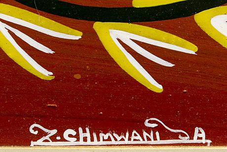 Z chimwani, tingatinga, lacquer on boardd signed.