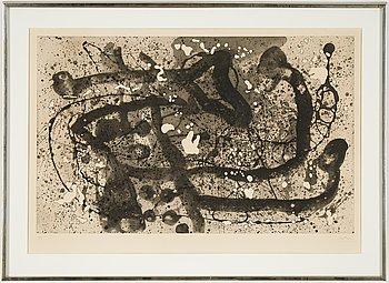 Joan Miró, akvatint med reliefprägling, 1960, signerad och numrerad 29/50.