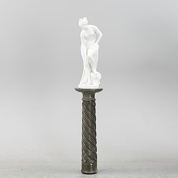 A parian sculpture on a marble pedestal, early 20th Century.