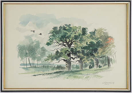 Gunnar brusewitz, watercolour, signed and dated -75.