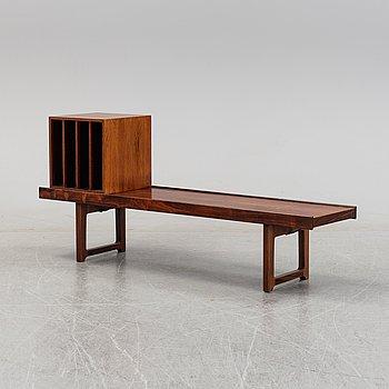 Torbjørn Afdal, a 'Krobo' bench and LP stand, Mellemstrands Trevareindustri, Bruksbo, Norway, 1960's/70's.