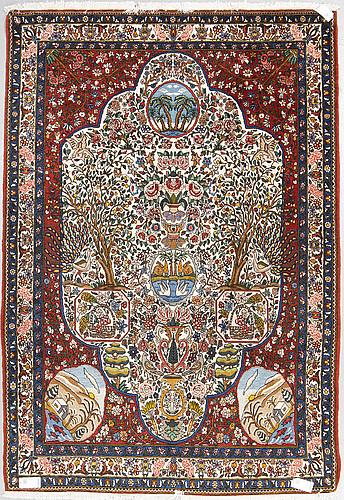 Rug, bakthari, figural, 243 x 169 cm.