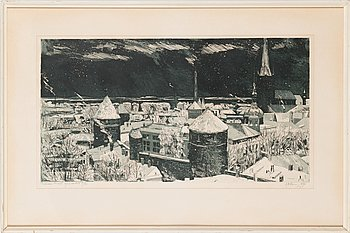 Evald Okas, etching, signed and dated -70, numbered 12/40.