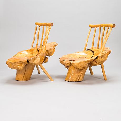 A pair of mid-20th century burr wood easy chairs made by  johannes järvelä, finland.