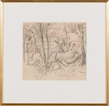 Bror Hjorth, pencil drawing, signed.