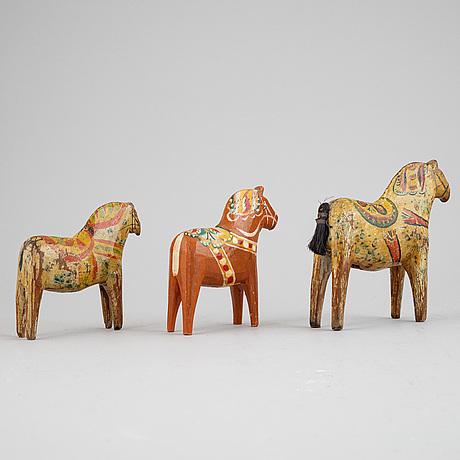 Three dala horses, first half of the 20th century.