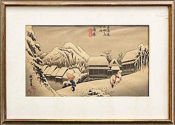 Ando Utagawa Hiroshige after,   woodcut Japanese signed.