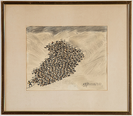 Nils nilsson skum, chalk and pencil drawing, signed and dated 1951.