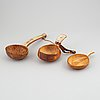 Three sami birch and reindeer horn cups, signed, one by olof tomas svonni.