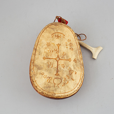 A sami ceremonial birch and reindeer horn drum, signed hs and dated 72.