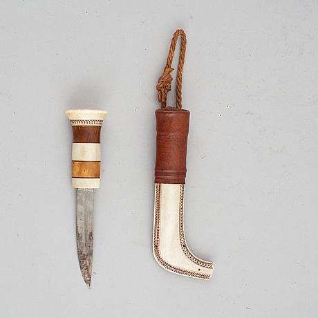 Sune enoksson, a rendeer horn sami knife, signed.
