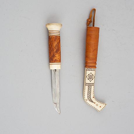 Andreas poggast, a reindeer horn sami knife, signed.