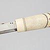 Martin kuorak, a sami reindeer horn knife, signed.
