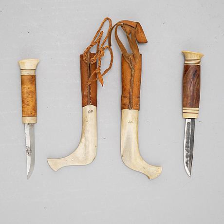 Lars olov parfa, two reindeer horn sami knives, signed.