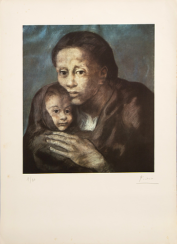 Pablo picasso, after, a signed and numbered offset lithograph.