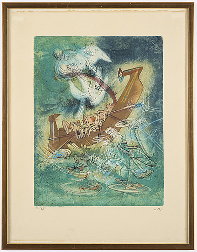 Roberto matta, etching in colours, signed and numbered xi/xxv.