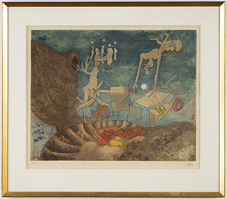 Roberto matta, etching in colours on arches paper, signed and numbered 29/100.
