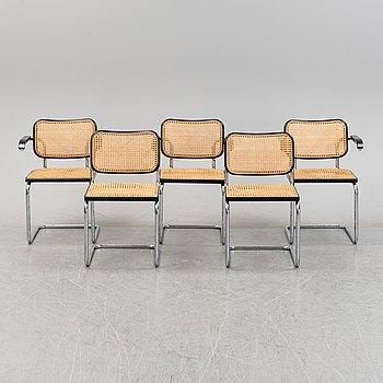 Marcel Breuer, five tubular steel 'Cesca' chairs, Knoll Studio.