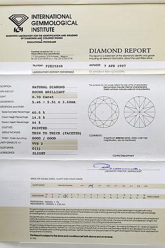 Brilliant-cut diamond 0,70 ct g vvs2, igi certificate f2e25268, 1997.
