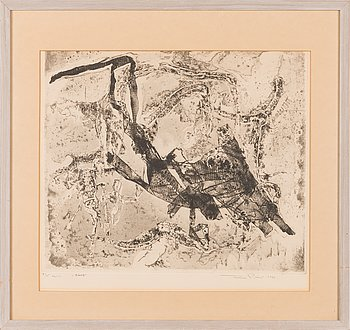Tuulikki Pietilä, softground etching, aquatint, signed and dated 1964, numbered 7/15 tpl'a.