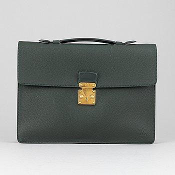 Louis Vuitton, a green Taiga 'Kourad' briefcase, 1994.
