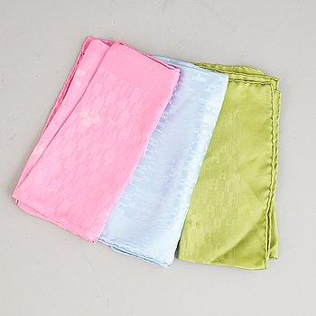 Hermès, three silk pocket squares.