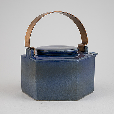 A 'six-sided' stoneware tea pot by signe persson-melin,rörstrand.