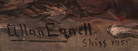 Allan egnell, mixed media signed and dated 1955.