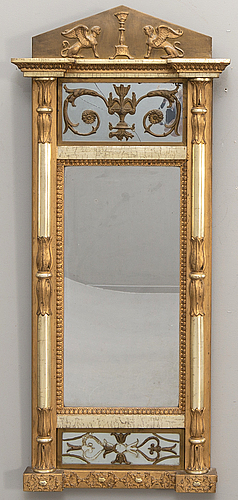 A swedish bronzed empire mirror by jm berg gothenburg.
