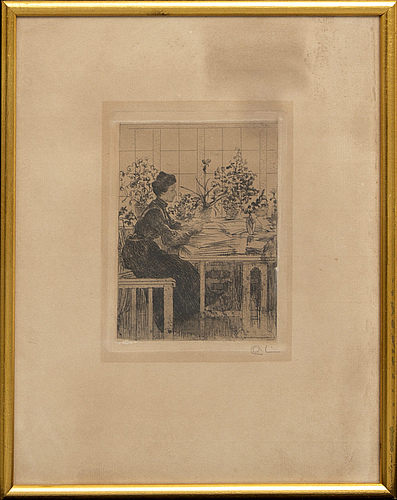 Carl larsson, a signed etching.