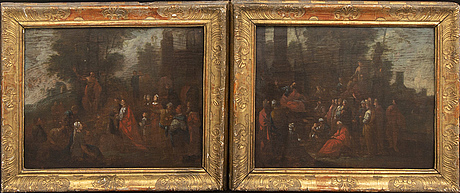Unknown artist, a pair of 17th century unsigned oil on board.