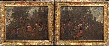 Okänd konstnär, olja på pannå, ett par, 1600-tal.