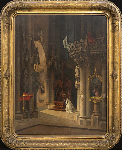 Unknown artist, 19th century, an indistinctly signed and dated oil on board.