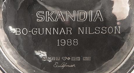 A 20th century swedish pair of silver bowls mark of mgab/e löfman uppsala 1980/87, weight 568 gr.