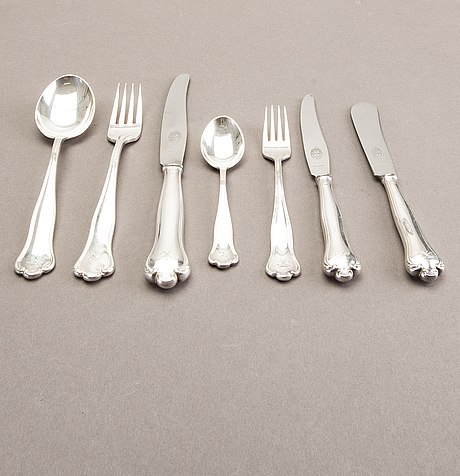 A swedish 20th century set of 79 pcs of silver cutlery mark of cg hallberg stockholm 1948, total weight 3808 gr.